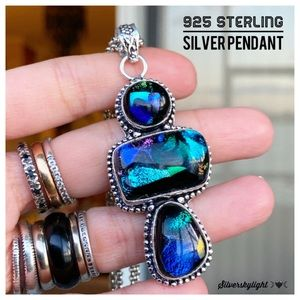 925 Sterling silver galaxy glass boho necklace